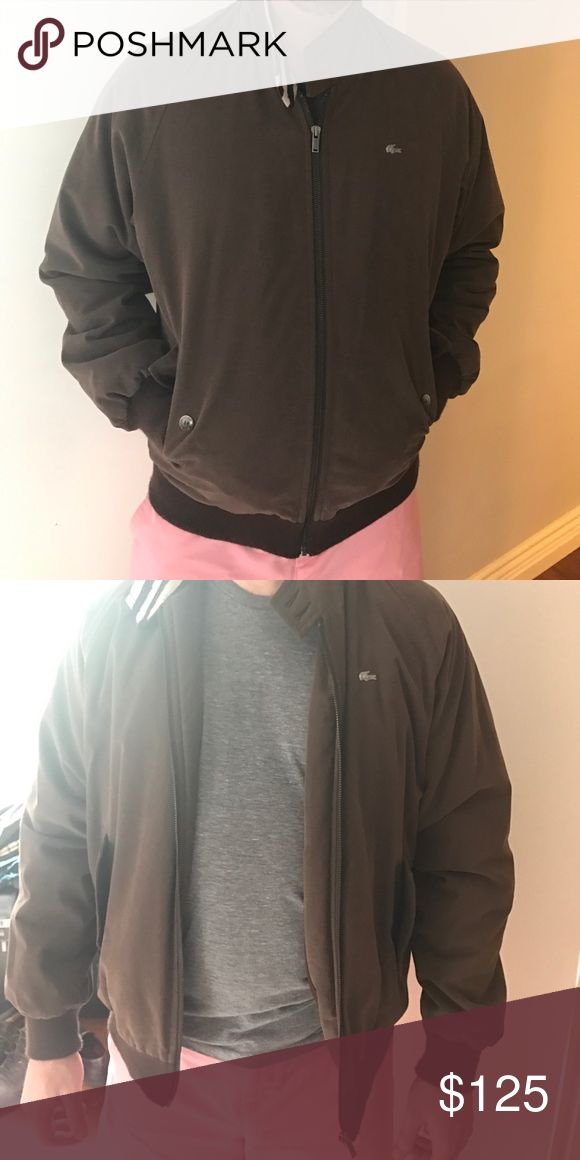 Like new Lacoste down bomber jacket! Gorgeous brown Lacoste bomber jacket! Size 50/4 (for reference the model wears size 40 sports coat and is generally a large) Lacoste Jackets & Coats Bomber & Varsity
