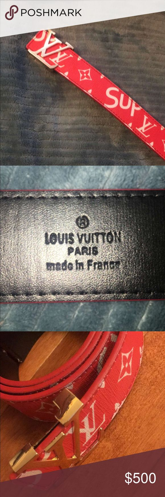 Real Louis Vuitton x Supreme Belt Red, LV print Supreme print. The condition is used (worn once). Only accepts payments through PAYPAL. Louis Vuitton Accessories Belts