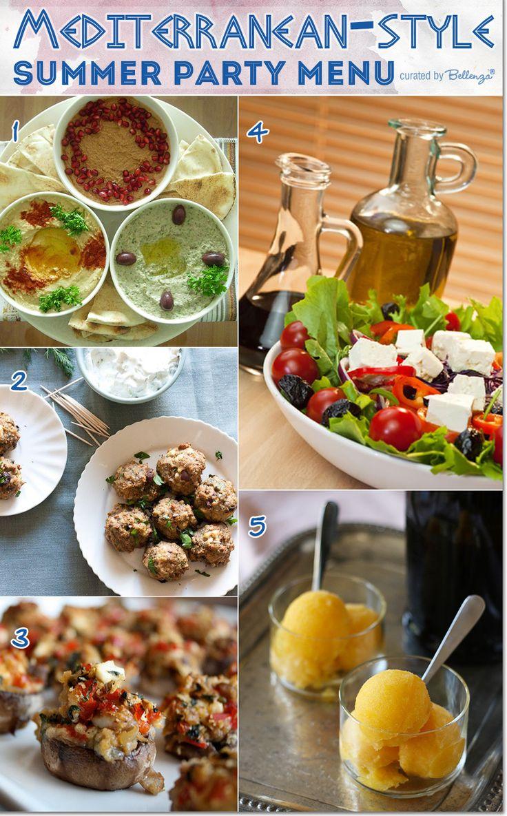 Mediterranean menu ideas from pasta to desserts - perfect for a summer wedding! (see the full post at the Bellenza Party Suite) #mediterraneanweddingmenu #weddingappetizers #summerweddingmenu