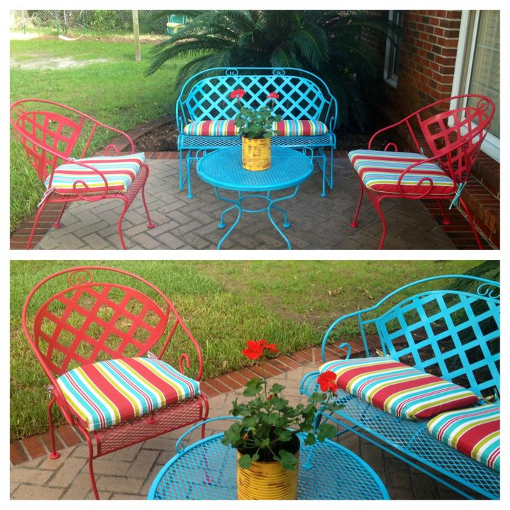 Painted outdoor furniture - 16 Best Metal Painted Outdoor Furniture Images On Pinterest