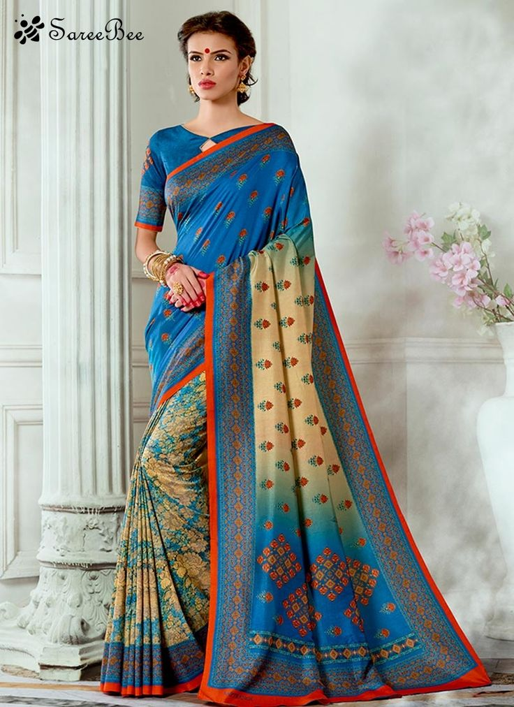Conspicuous Print Work Multi Colour Traditional Saree  This season your look gets better definition with just a little attention to detail. Keep ahead in fashion with this multi colour tussar silk traditional saree. The print work looks chic and perfect for any occasion. Comes with matching blouse.