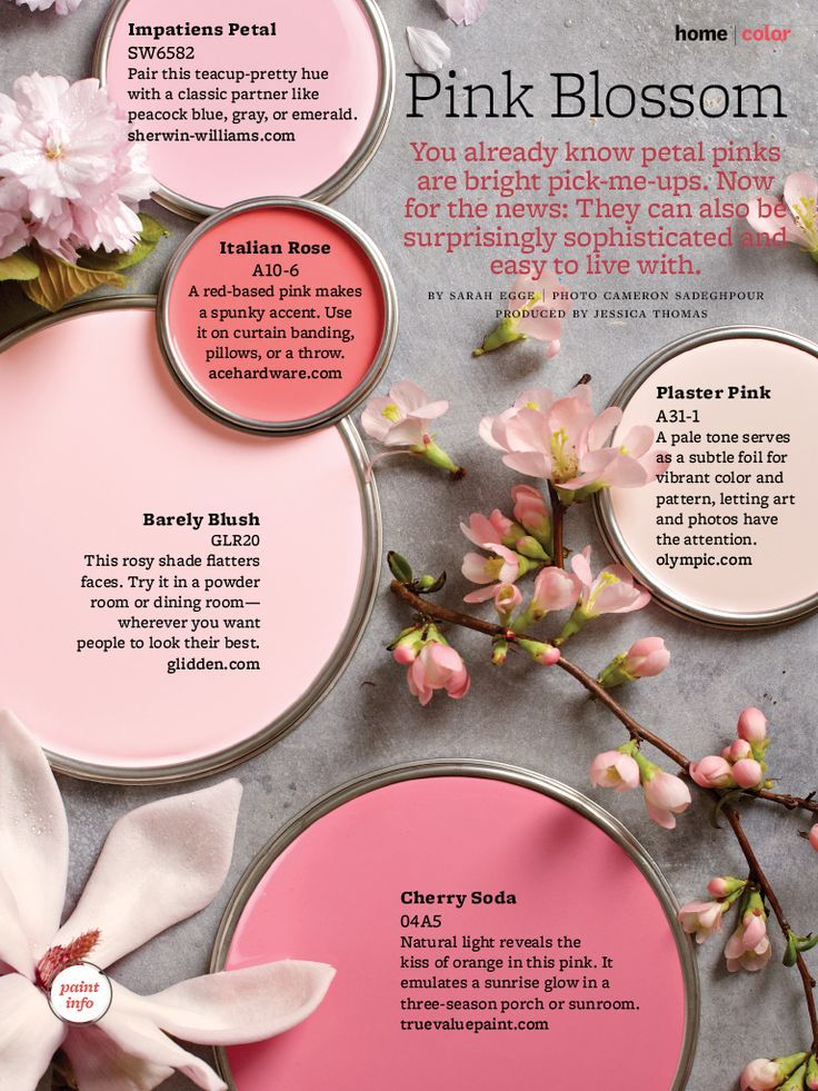 Sophisticated petal pinks that are easy to live with. Paint Colors Used: Impatiens Petals SW6582 by Sherwin Williams Italian Rose A10-6  by Ace Hardware Barley Blush GLR20 by Glidden Plaster Pink A31-1 by Olympic Cherry Soda 04A5 by True Value Paint via bhg