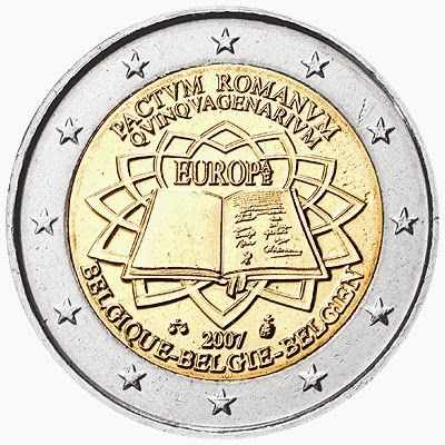 2 Euro Commemorative Coins: 2 euro coins Belgium 2007, 50th anniversary of the Treaty of Rome. Commemorative 2 euro coins from Belgium