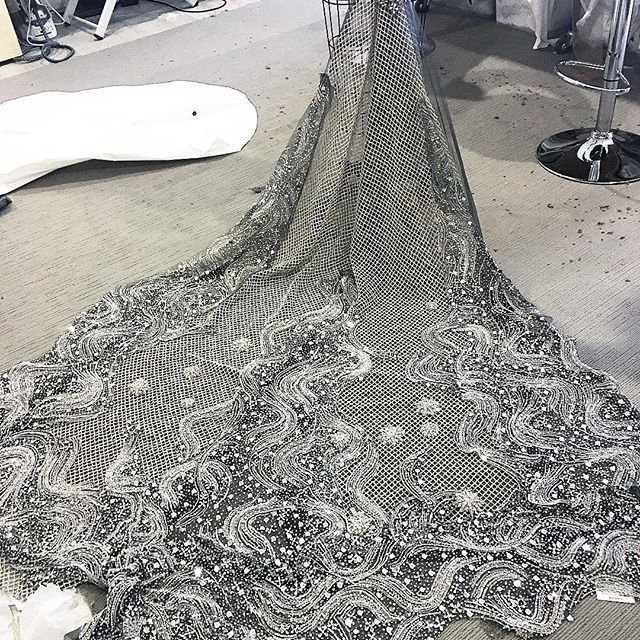 • THE PROCESS • A progress photo of Bianca's gown, this was the stage of placing, cutting and piecing this incredible detachable train • I can't wait to reveal more photos of this insane gown. Custom fabric sketched and designed ourselves, we are still so in love even after spending so many hours looking at it! • #onedaybridal #onedaybride #bandcammylee  #Regram via @onedaybridal