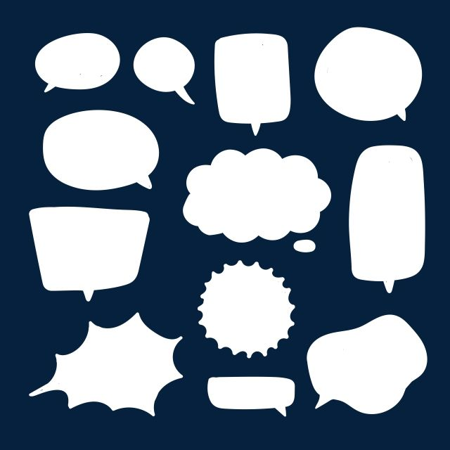 Blank White Speech Bubbles Thinking Talks Bubbling Chat Comment Comic Retro Shouting Voice Shapes Background Blank Boom Png And Vector With Transparent Back