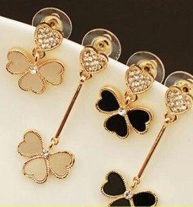 ER316  European and American fashion cute love asymmetrical Clover Peach Heart Crystal Stud Earrings for women jewelry