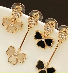 ER316  European and American fashion cute love asymmetrical Clover Peach Heart Crystal Stud Earrings for women jewelry
