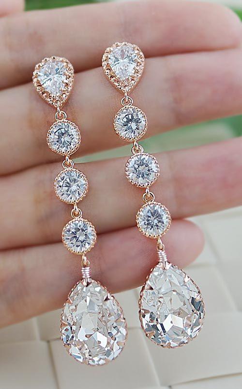 Rose gold bridal Earrings from EarringsNation...