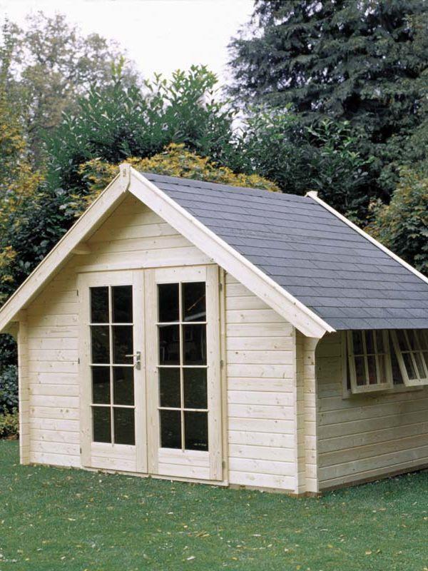 Houten hut lichthout