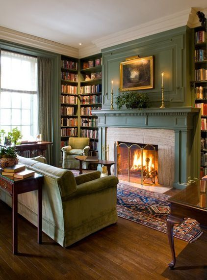 Green fireplace- love the built in book shelves
