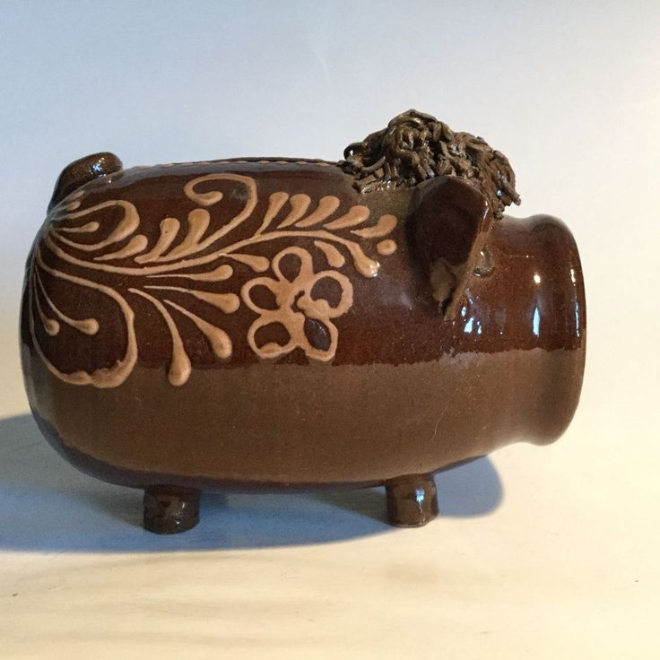 MidCentury Redware Pottery Piggy Bank Smiley Face Slip Decoration Spaghetti Hair #FolkArt
