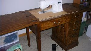 Old Sewing Cabinet Converted for New Sewing Machine