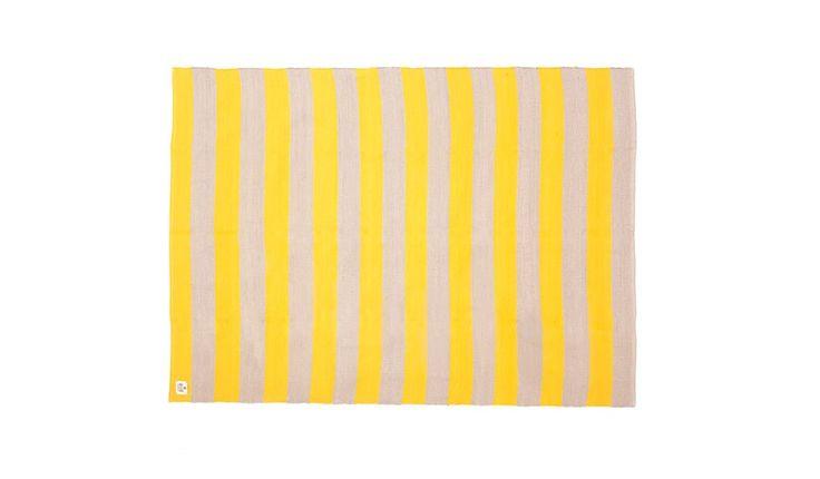 MONOQI | Stripes Teppich - Gelb/Grau