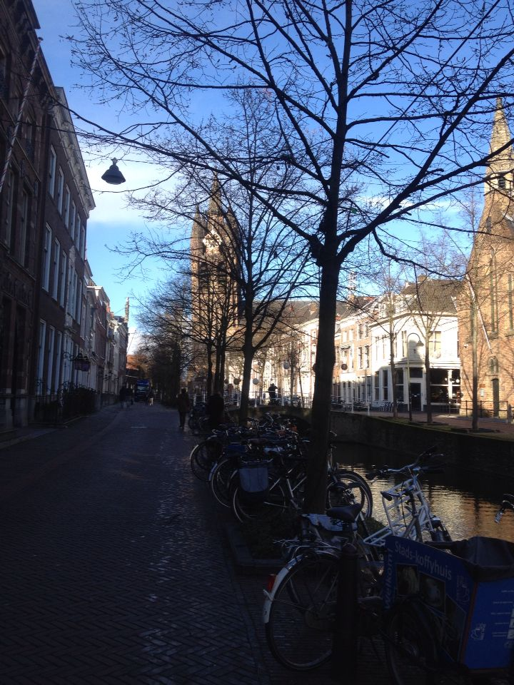 Saturday morning in Delft. View of the Old Church.