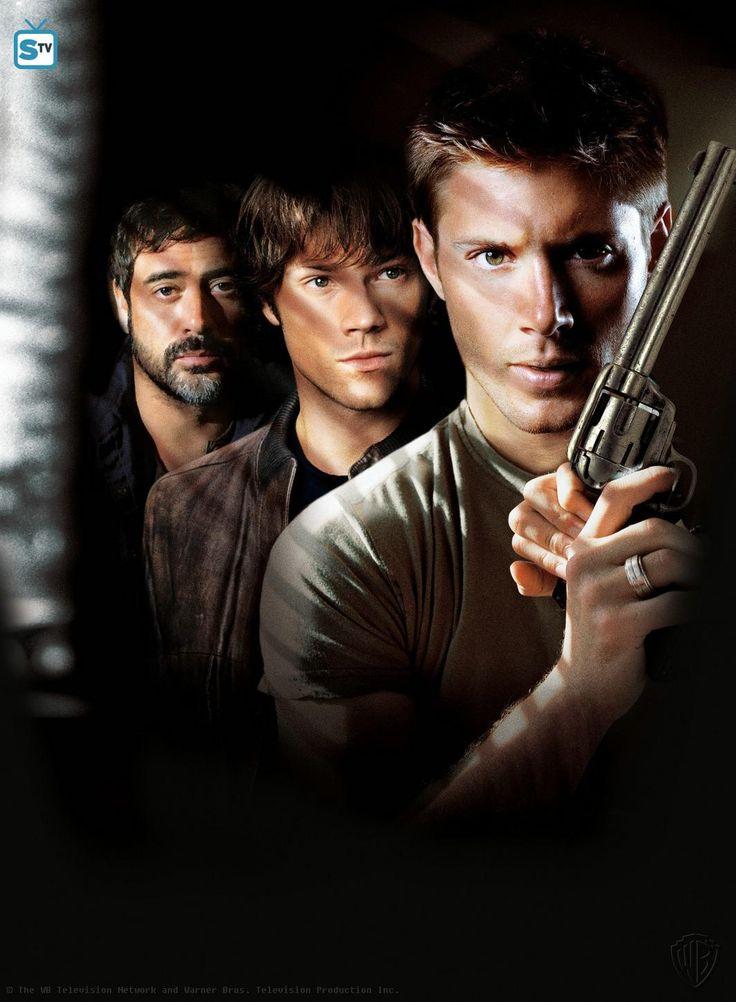"Supernatural S1 Cast: Jeffery Dean Morgan ""John Winchester,"" Jared Padalecki ""Sam Winchester,"" Jensen Ackles ""Dean Winchester"""