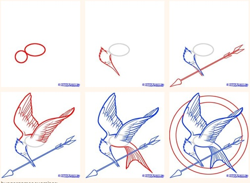 Mockingjay drawing tutorial! Great for our Hunger Games release party in March!