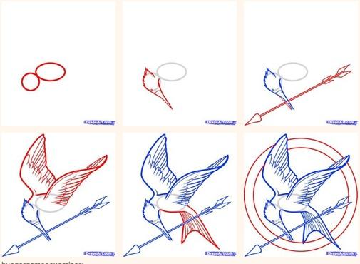 Mockingjay drawing tutorial. Someone should make a mockingjay badge making tutorial.