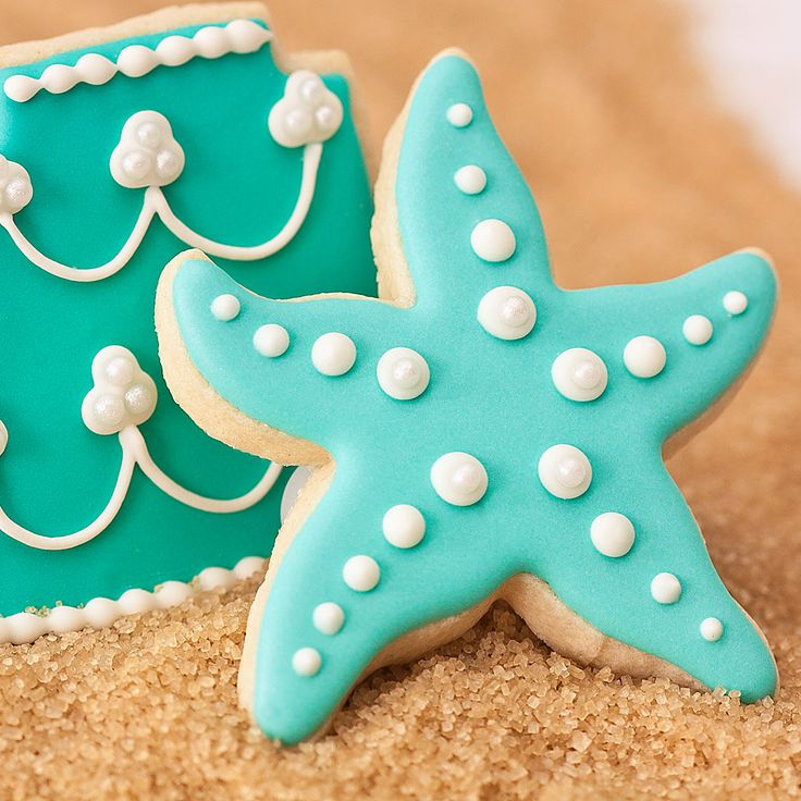 Aqua Starfish Beach Wedding Cookie Favors // Wedding Favors // Bridal Shower Favors // Star Fish Birthday Party Favors. $37.50, via Etsy.