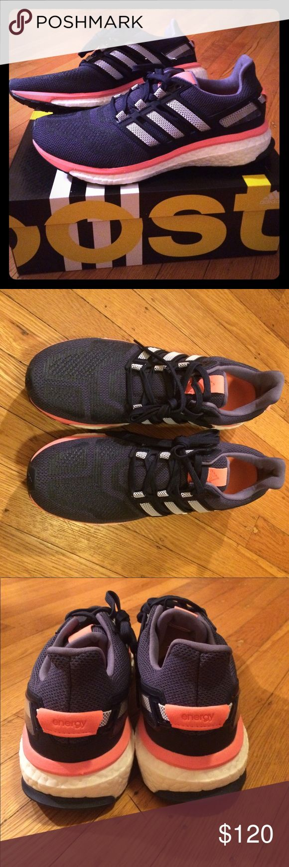 NIB! Adidas Energy Boost Blue and coral Adidas knit upper with Boost technology midsole. Worth the hype! adidas Shoes Athletic Shoes