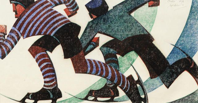 Sybil Andrews CPE (British/Canadian, 1898-1992) Skaters Linocut printed in spectrum red, viridian, permanent blue and ivory black, 1953, on buff oriental laid, signed, titled and numbered 53/60 in pencil, with margins, 204 x 380mm (8 x 15in)(B)