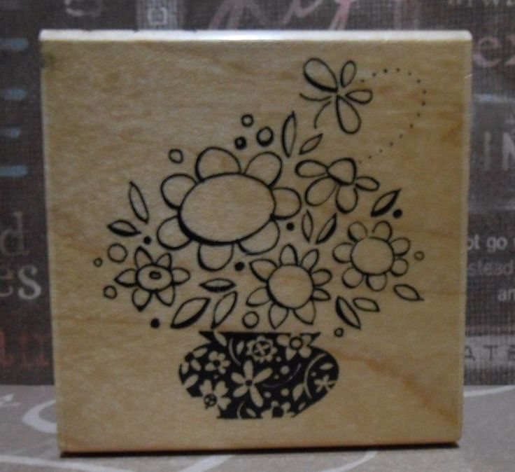 HIP HAP BOUQUET F153 Spring Flowers Vase Stampendous Stamp #stamping #cardmaking #rubberstamps #scrapbooking #inkyfingers