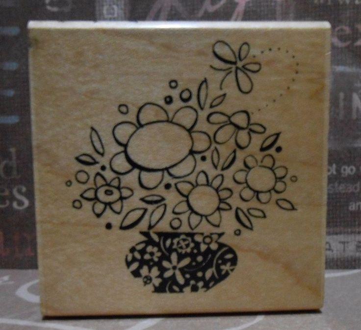 HIP HAP BOUQUET F153 Spring Flowers Vase Stampendous Stamp #stamping #cardmaking #rubberstamps #scrapbooking #inkyfingers