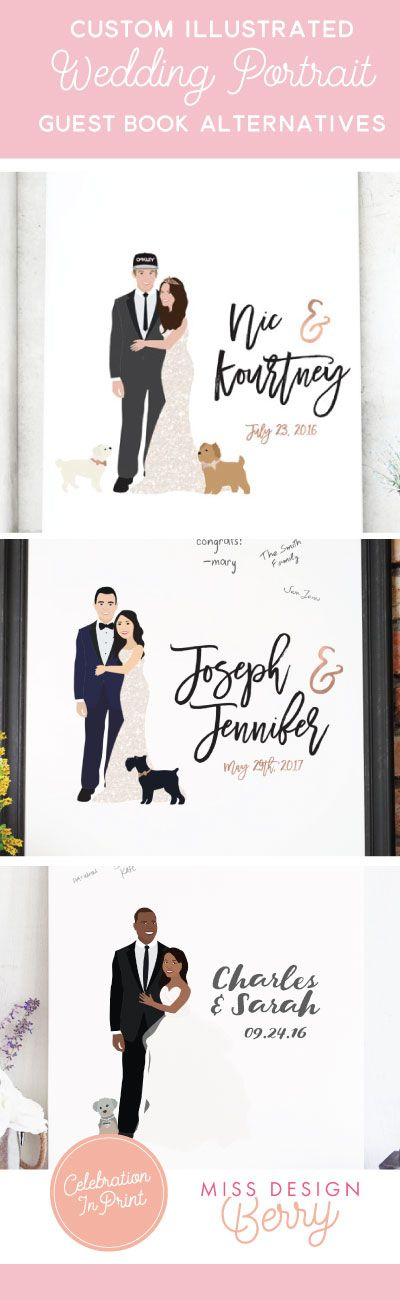Faire un portrait personnalisé de chaque invité sur menu :) Ditch the traditional guest book for a custom illustrated wedding portrait canvas guest book from Miss Design Berry. Shop unique pieces like custom illustrations, hand lettered signage, and one-of-a-kind invitations, only from Miss Design Berry.