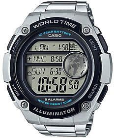 Casio Men's Silver World Time Watch #casio #newarrivals #men #women #style #giftideas #watches