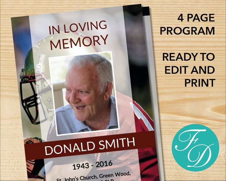 190 best Funeral Programs for Men Obituary Templates \ Prayer - funeral program template microsoft