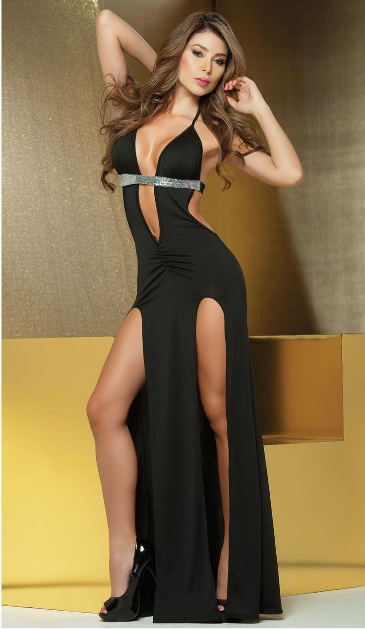 Black sexy maxi dress