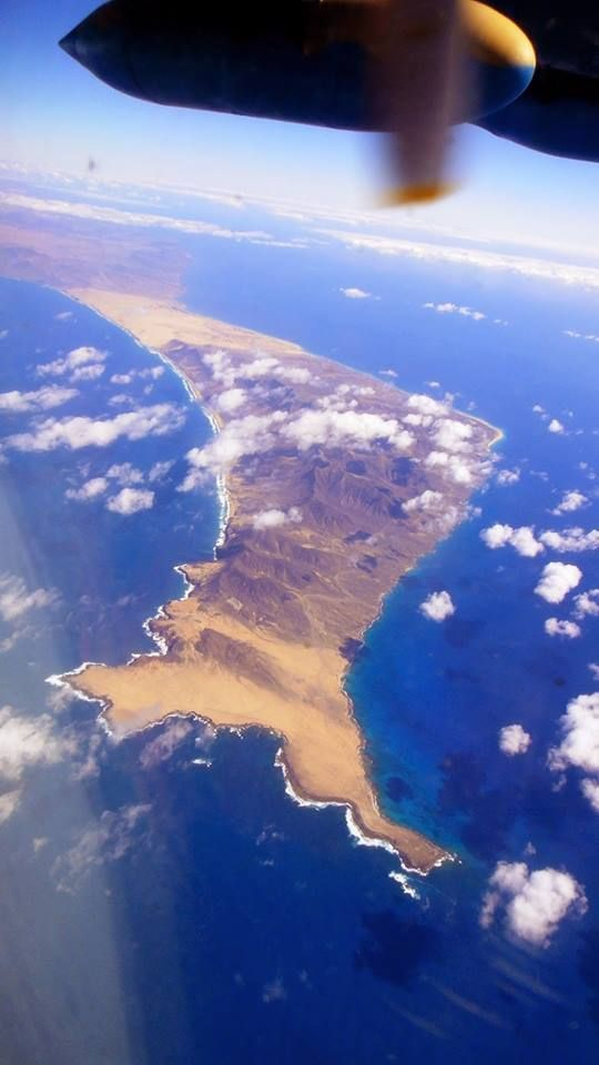 Jandia on the right, Cofete on the left, the hills in the centre, dunes in the North toward Corralejo.