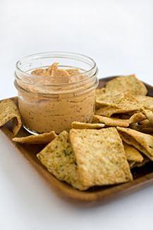 Chickpea Flour Crackers - 1/2 cup chickpea flour, 1/4 teaspoon salt, 1/4 teaspoon baking powder, 1/8 teaspoon turmeric, 2 tablespoons nutritional yeast, 1/2 teaspoon sesame oil, 3 tablespoons water.