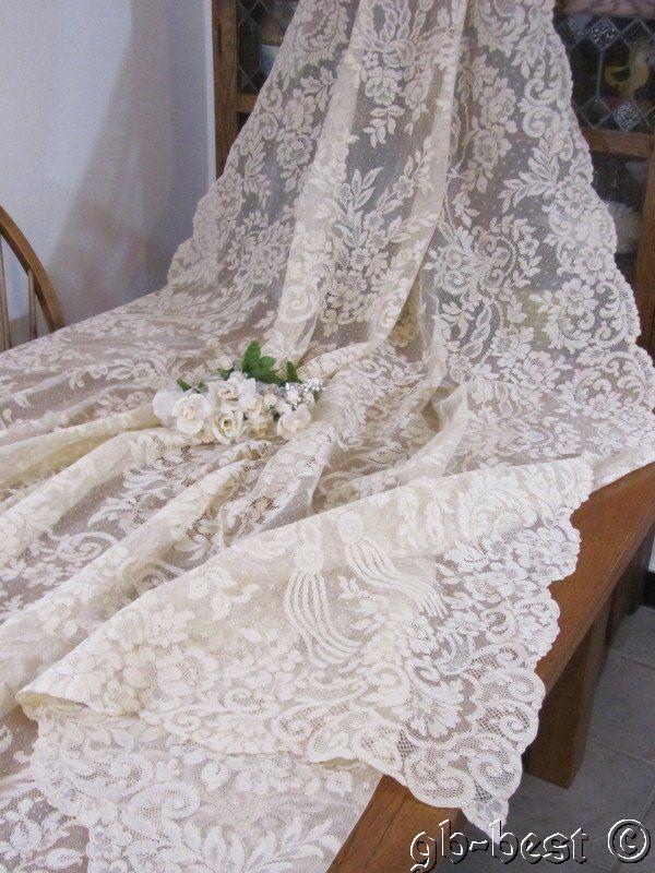 "Exquisite Antique Alencon Net Lace FRENCH Banquet Tablecloth Wedding 85 x 68"""