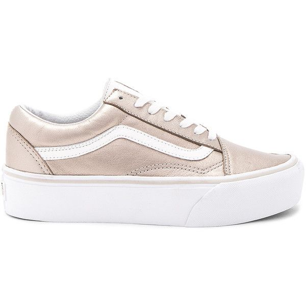 Vans Old Skool Platform Sneaker ($64) ❤ liked on Polyvore featuring shoes, sneakers, platform trainers, metallic platform shoes, laced shoes, platform shoes and vans sneakers