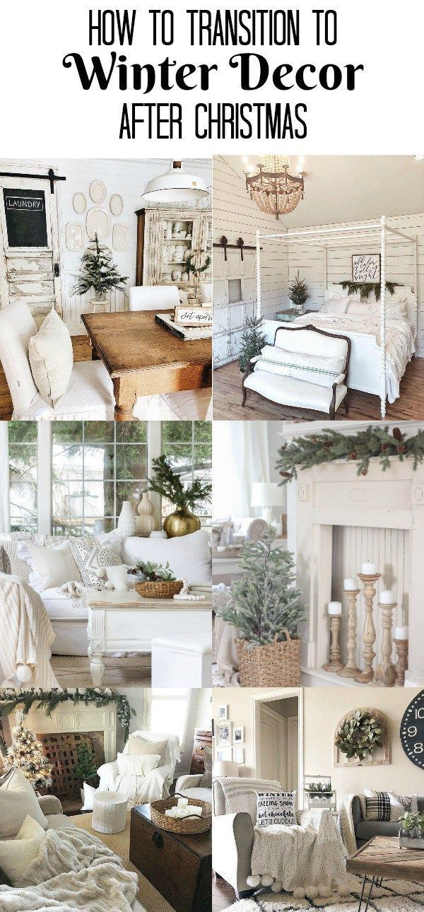 Adding wood and white winter decor after Christmas makes your home feel  warm and cozy and