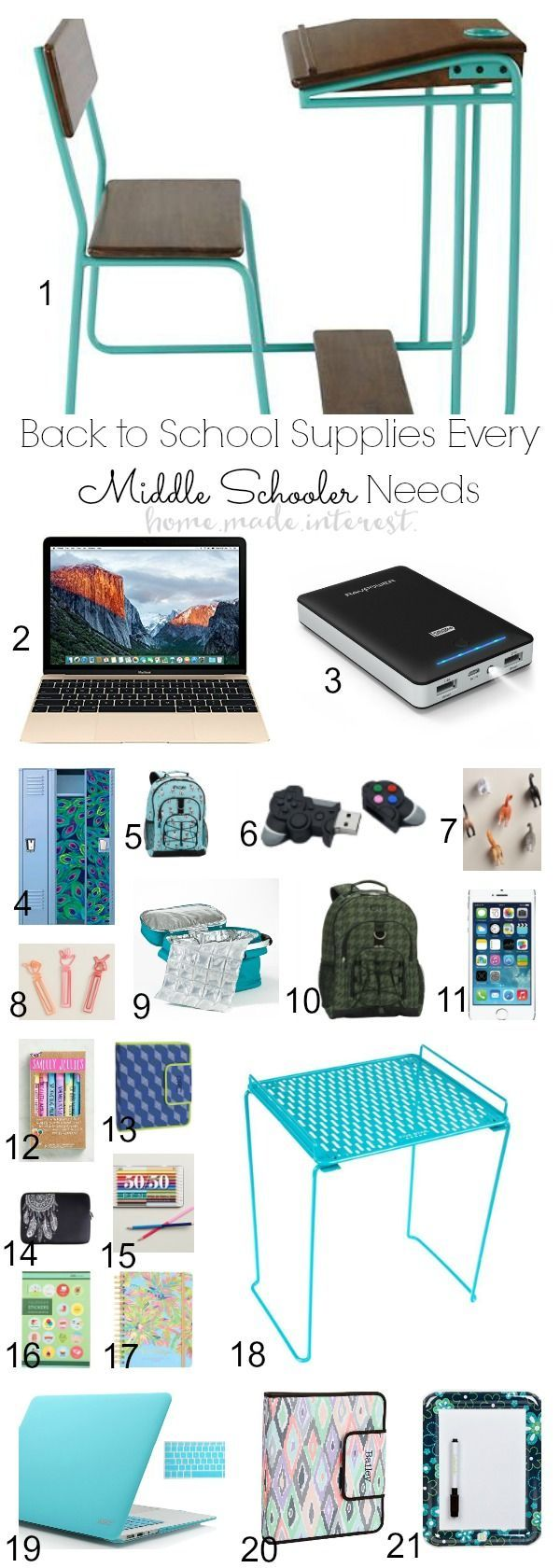 This simple list of Back to School Supplies for Middle School Boys & Girls has everything a kid needs for the classroom, organization and being cool! Whether your child is just starting school or headed into middle school this back to school supplies list is going to make getting prepared for school much easier!