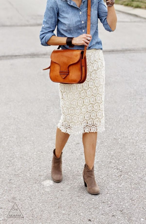 Chambray shirt paired with a crocheted/lace skirt and ankle boots   Camel cross body bag   Fashion