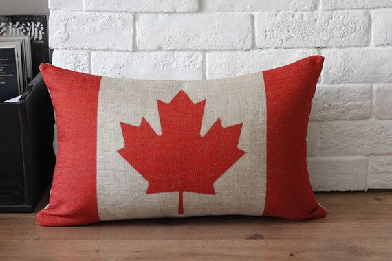 ON SALE Linen cotton Vintage retro Canada flag by bestlove2u, $17.95