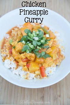 Chicken Pineapple Curry ~ an easy Thai food recipe made at home! | 5DollarDinners.com