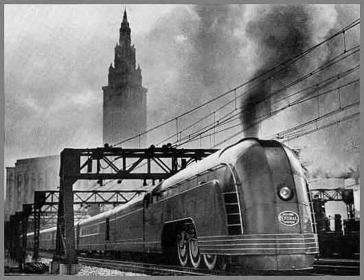 Art Deco Train modore Vanderbilt streamlined steam