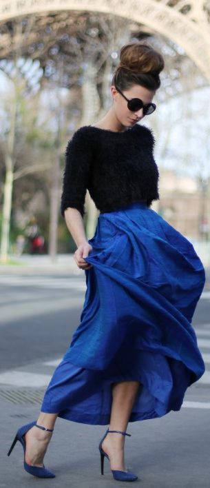 black furry crop and great blue skirt....this is my fav look. Contrasting textures are gorgeous especially if its fluffy and silk. Wouldnt you just feel like dancing all day in that???!!!