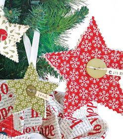 """Simple Quilted Ornaments  SUPPLIES & TOOLS:  5"""" micro tip scissors  Shape template  Pinking shears  24""""x36"""" cutting mat  Quilt batting  S..."""