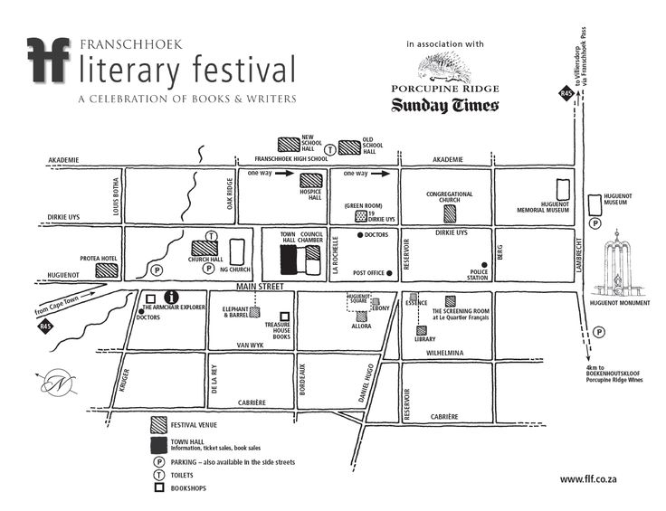 Map to the Franschhoek Literary Festival