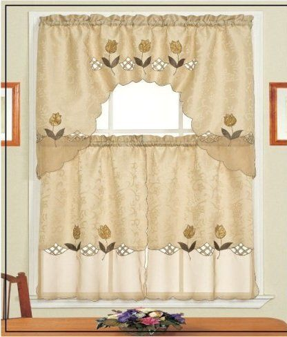 "Daniel's Bath & Beyond Lily Brown Kitchen Curtain Set by HLC.ME. $7.99. Daniel's Bath & Beyond Lily Brown Kitchen Curtain Set - Our Kitchen Curtains are expertly tailored and add an elegant touch to any Kitchen. (Curtain Rods Not Included) Fabric Made of 100% Polyester Wash Warm separately, Gentle Cyle No Chlorine Bleach Line or Tumble Dry Medium Iron. What's Included: 1x Daniel's Bath & Beyond Lily Brown Kitchen Curtain Swag Valance 36"" x 60"" Inches (top curta..."