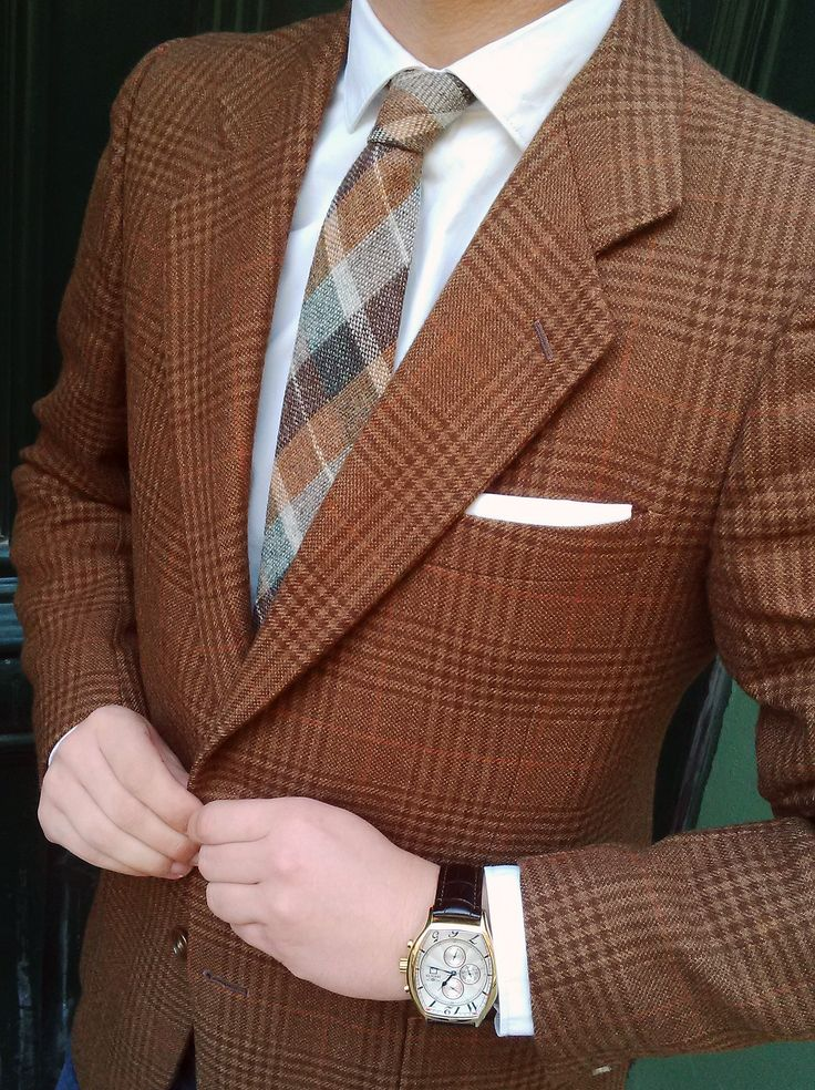 My friend Cristian wearing a beautiful tweed jacket + wool tie + Invicta Limited Edition Watch