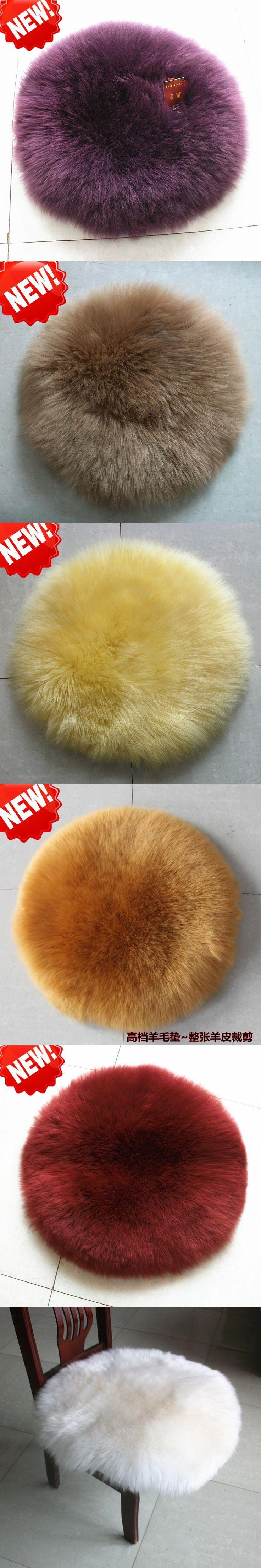 Round Shape Luxurious Sheepskin Wool Car Seat Cushion Fur  Chair Pad With Multi Colors