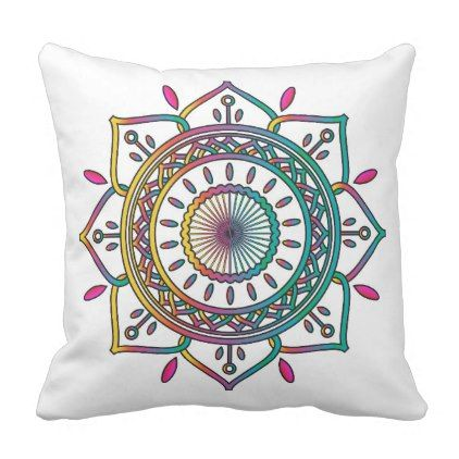 #Rainbow Mandala Throw Pillow - #trendy #gifts #template