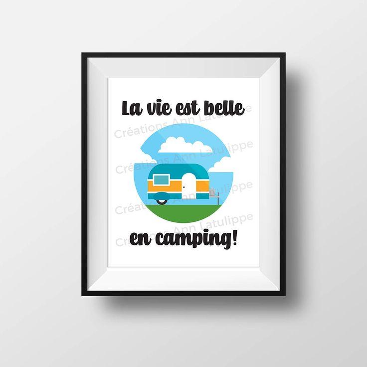 Affiche imprimable La vie est belle en camping 8x10, Camping printable poster, wall art decoration caravan roulotte à imprimer