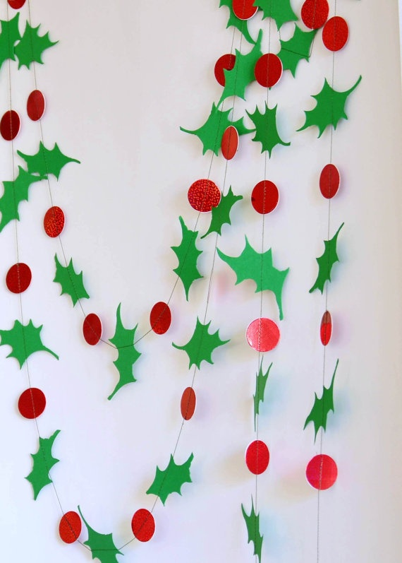 Holiday Garland Holly Berry Garland Holiday by CoutureByAyca