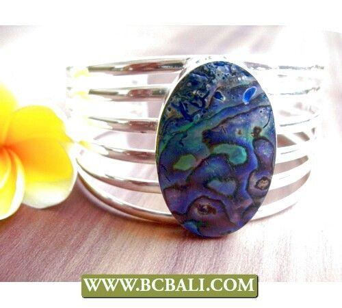 Abalone shell cuff bracelet silver